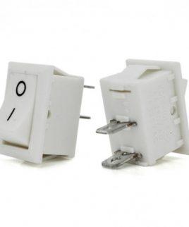 کلید راکر دو حالته کوچک دو پین سفید 13x8x9